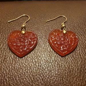 Jewelry - Heart shaped red jade earrings
